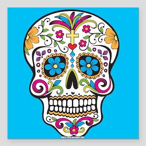 "Sugar Skull Halloween Blue Square Car Magnet 3"" x"