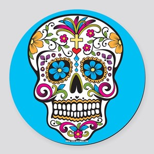 Sugar Skull Halloween Blue Round Car Magnet