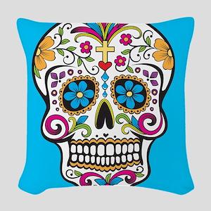 Sugar Skull Halloween Blue Woven Throw Pillow