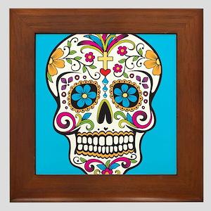 Sugar Skull Halloween Blue Framed Tile
