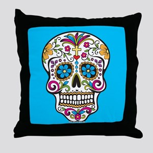 Sugar Skull Halloween Blue Throw Pillow