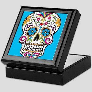 Sugar Skull Halloween Blue Keepsake Box