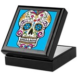 Dia de los muertos day of the dead sugar skull dea Square Keepsake Boxes