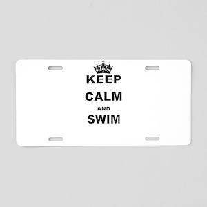 KEEP CALM AND SWIM Aluminum License Plate