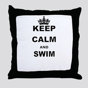 KEEP CALM AND SWIM Throw Pillow