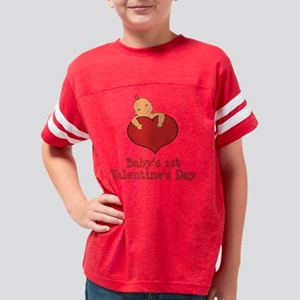 Babys 1st Valentines Day Med  Youth Football Shirt