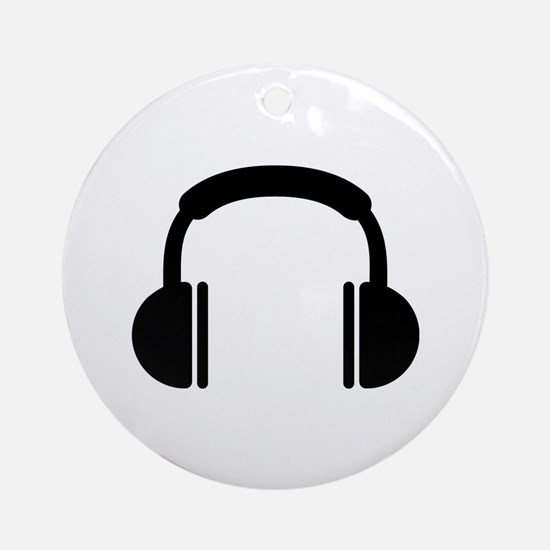 Headphones music DJ Ornament (Round)