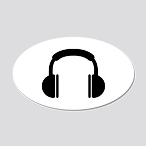Headphones music DJ 20x12 Oval Wall Decal