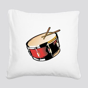 realistic snare drum red Square Canvas Pillow
