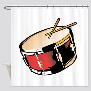 realistic snare drum red Shower Curtain