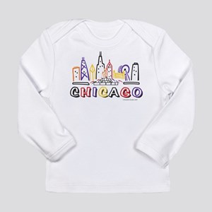 Cute Chicago Skyline Long Sleeve Infant T-Shirt