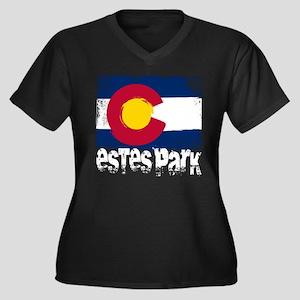 Estes Park Grunge Flag Women's Plus Size V-Neck Da