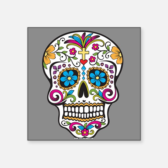 Sugar Skull Halloween Grey Sticker