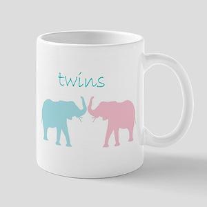 pink and Blue twin art Mugs