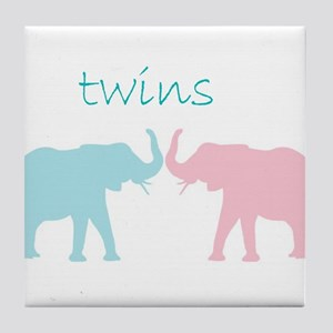 pink and Blue twin art Tile Coaster