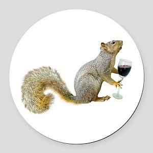 Squirrel with Wine Round Car Magnet