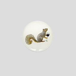 Squirrel with Wine Mini Button