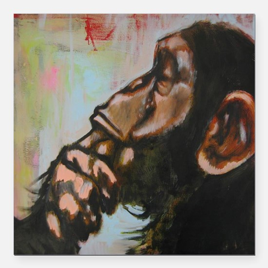 """The thinker Square Car Magnet 3"""" x 3"""""""