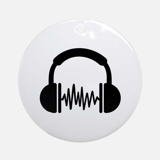 Headphones Frequency DJ Ornament (Round)