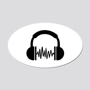 Headphones Frequency DJ 20x12 Oval Wall Decal