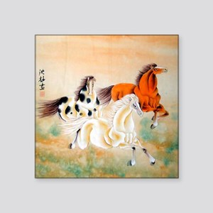 "Vintage Oriental Art - Hors Square Sticker 3"" x 3"""