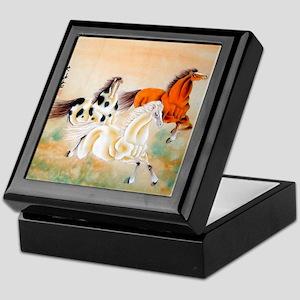 Vintage Oriental Art - Horses Keepsake Box