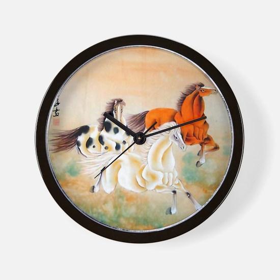 Vintage Oriental Art - Horses Wall Clock