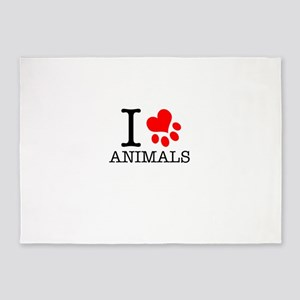I Love Animals 5'x7'Area Rug