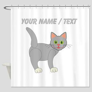 Custom Grey Cat Shower Curtain