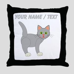Custom Grey Cat Throw Pillow