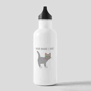 Custom Grey Cat Sports Water Bottle