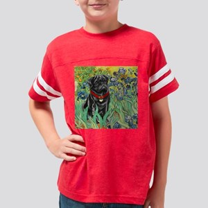TILE-IRISES-Pug-Blk14 Youth Football Shirt