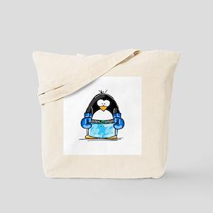 Blue Boxing Penguin Tote Bag