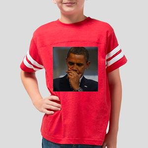 obama thinking16x16 Youth Football Shirt