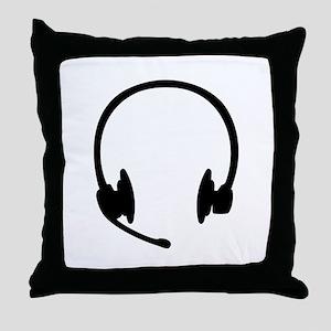 Headset headphones Throw Pillow