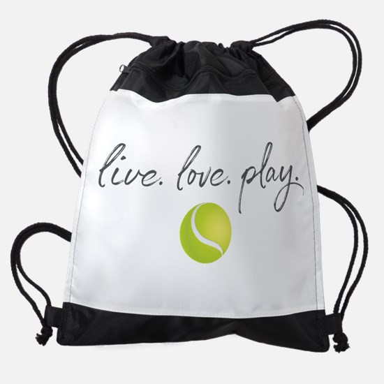 Live Love Play Tennis Drawstring Bag