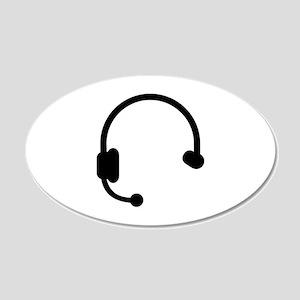 Headset headphones telephone 20x12 Oval Wall Decal