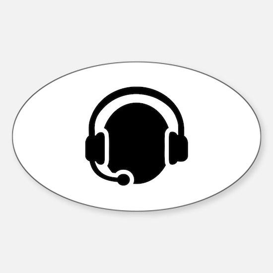 Headset call center Sticker (Oval)