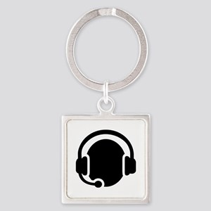 Headset call center Square Keychain