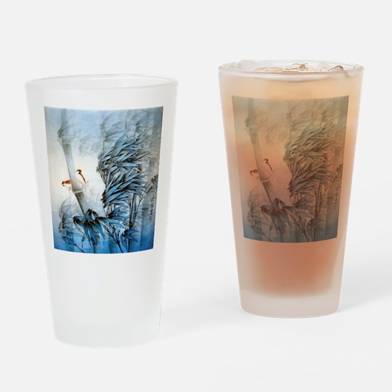 Vintage Oriental Art Drinking Glass