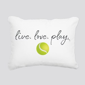 Live Love Play Tennis Rectangular Canvas Pillow