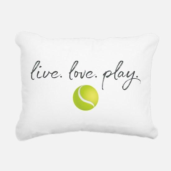 Live Love Play Tennis Rectangular Canvas Pillow