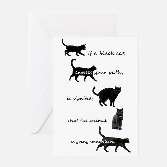 Black Cat Crossing Greeting Cards