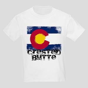 Crested Butte Grunge Flag Kids Light T-Shirt