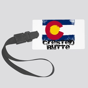 Crested Butte Grunge Flag Large Luggage Tag