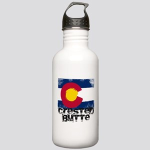 Crested Butte Grunge Flag Stainless Water Bottle 1