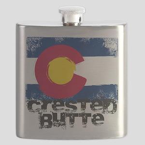 Crested Butte Grunge Flag Flask