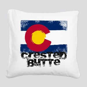 Crested Butte Grunge Flag Square Canvas Pillow