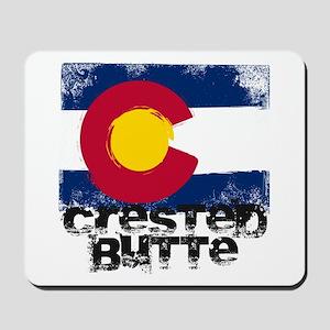 Crested Butte Grunge Flag Mousepad