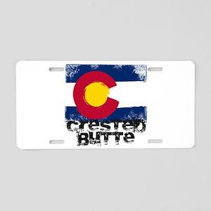 Crested Butte Grunge Flag Aluminum License Plate